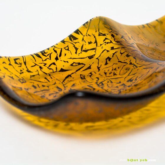 Streaky mid amber and white wisps hand made glass plate - Irish Glassware photo 1586