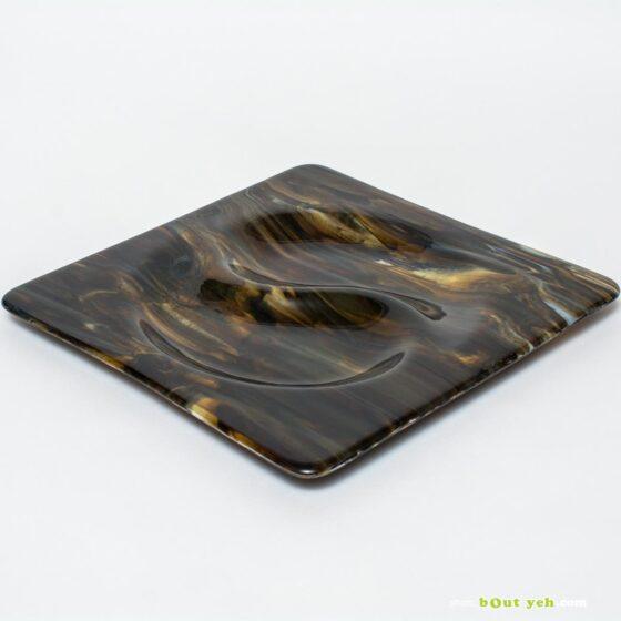 Ying yang square bullseye glass plate with copper patternation photo 1591