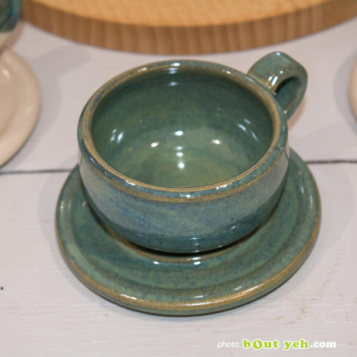 Hand made espresso set of 2 cups and saucers in green and blue - photo 1432.