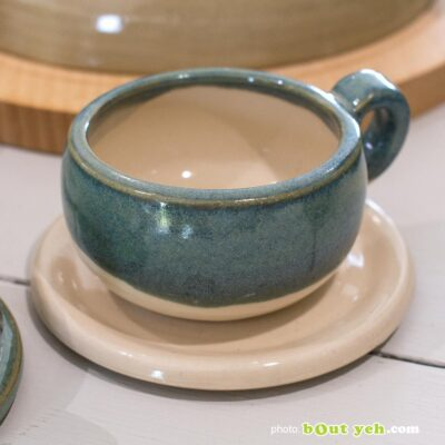 Contemporary Irish homeware ceramics - hand made pottery espresso set of 2 cups and 2 saucers, photo 1457.