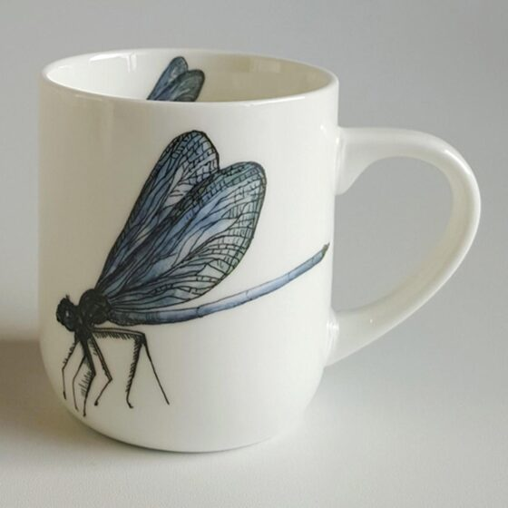 Dragonfly Mug - ceramic mug with dragonfly illustration. Irish ceramics and porcelain for sale by Bout Yeh art and crafts gallery Belfast and Dublin, Ireland