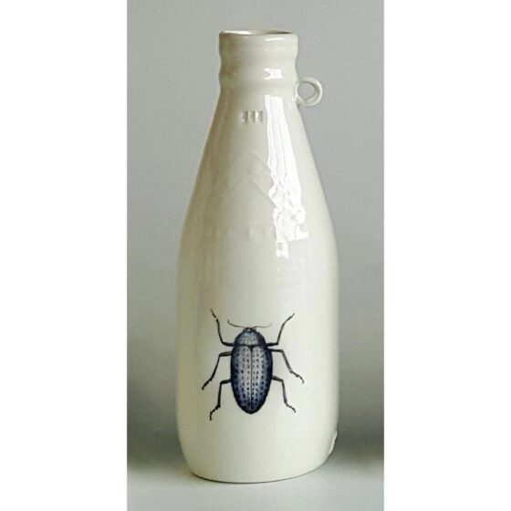 Ceramic Irish milk bottle with dragonfly decal. Irish ceramics and porcelain for sale by Bout Yeh art and crafts gallery Belfast and Dublin, Ireland