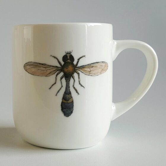 Moth Mug - ceramic mug with moth illustration. Irish ceramics and porcelain for sale by Bout Yeh art and crafts gallery Belfast and Dublin, Ireland