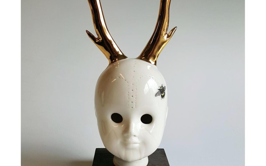 Goldy– ceramic human head with bee ornamentation. Hand made in Belfast
