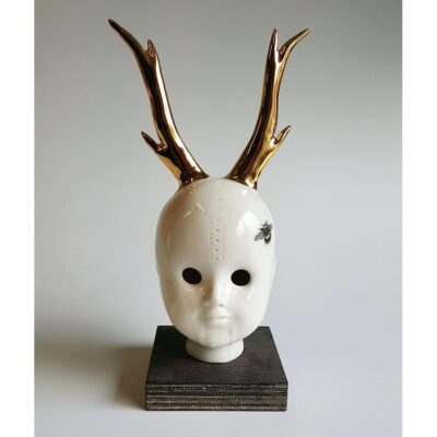 Ceramic human head with golden reindeeer horns - Irish ceramics and porcelain for sale by Bout Yeh art and crafts gallery Belfast and Dublin, Ireland