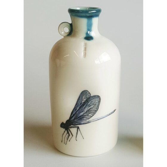 Ceramic specimen bottle with dragonfly decal - large size. Irish ceramics and porcelain for sale by Bout Yeh art and crafts gallery Belfast and Dublin, Ireland