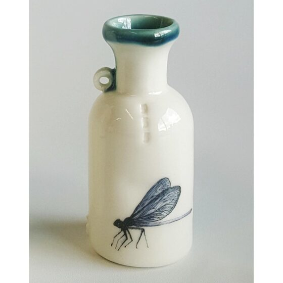 Ceramic specimen bottle with dragonfly decal - small size. Irish ceramics and porcelain for sale by Bout Yeh art and crafts gallery Belfast and Dublin, Ireland