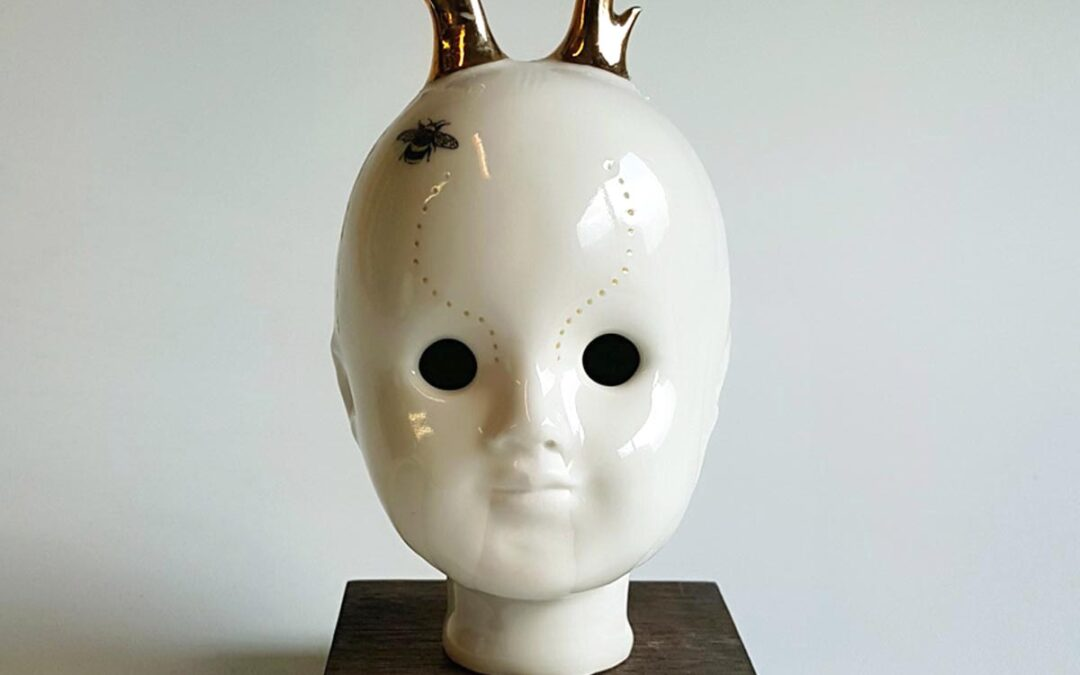 Young Buck– ceramic doll head with bee ornamentation