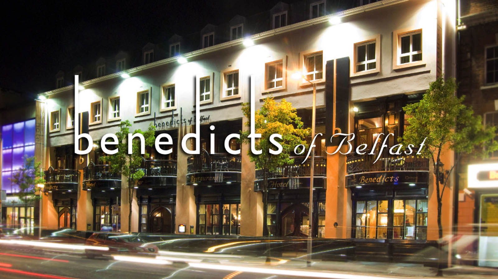 Cinema commercial for Benedicts of Belfast showing the exterior of this Belfast hotel at night - Bout Yeh video production Belfast, Northern Ireland