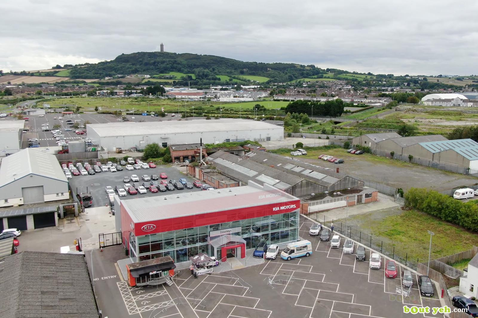 Aerial drone photography of Kia Cars Newtownabbey by Bout Yeh aerial drone photographers, Belfast, Northern Ireland