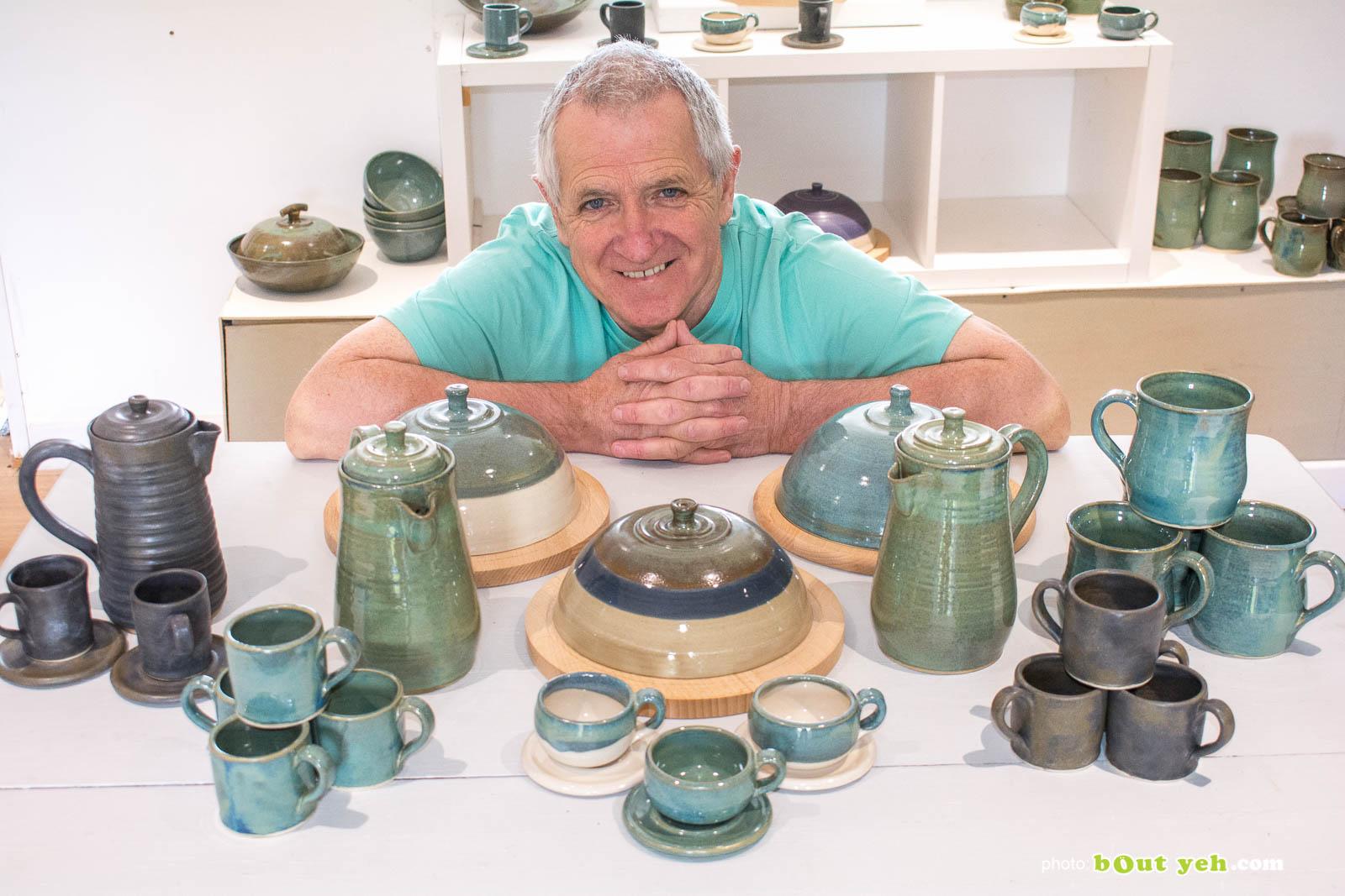 Photograph of potter Ciaran Headley in his studio in Crumlin, Northern Ireland. Photo 1496
