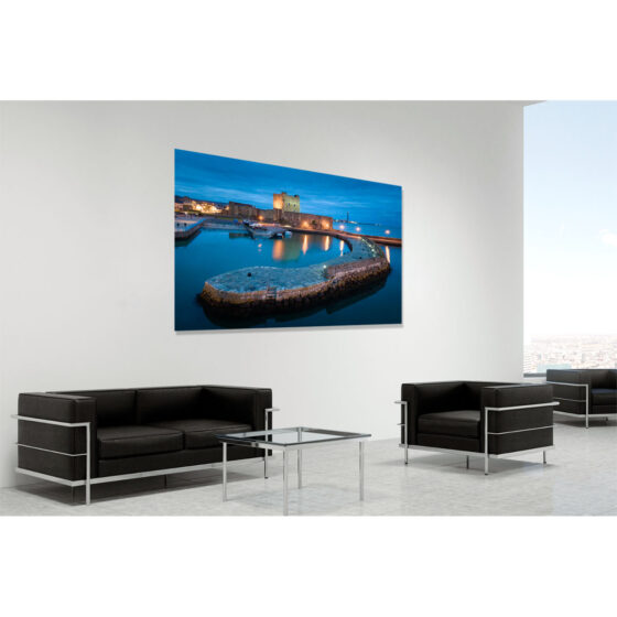 Aerial photograph of Carrickfergus Castle and pier - photo 100 0181 0001 in room setting