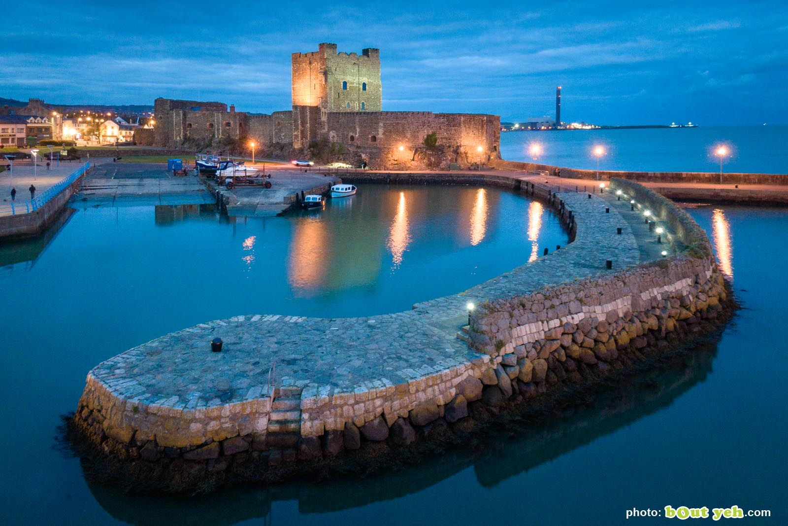 Carrickfergus Castle from the air at dusk - drone photograph 0181 by Bout Yeh photographers Belfast, Northern Ireland
