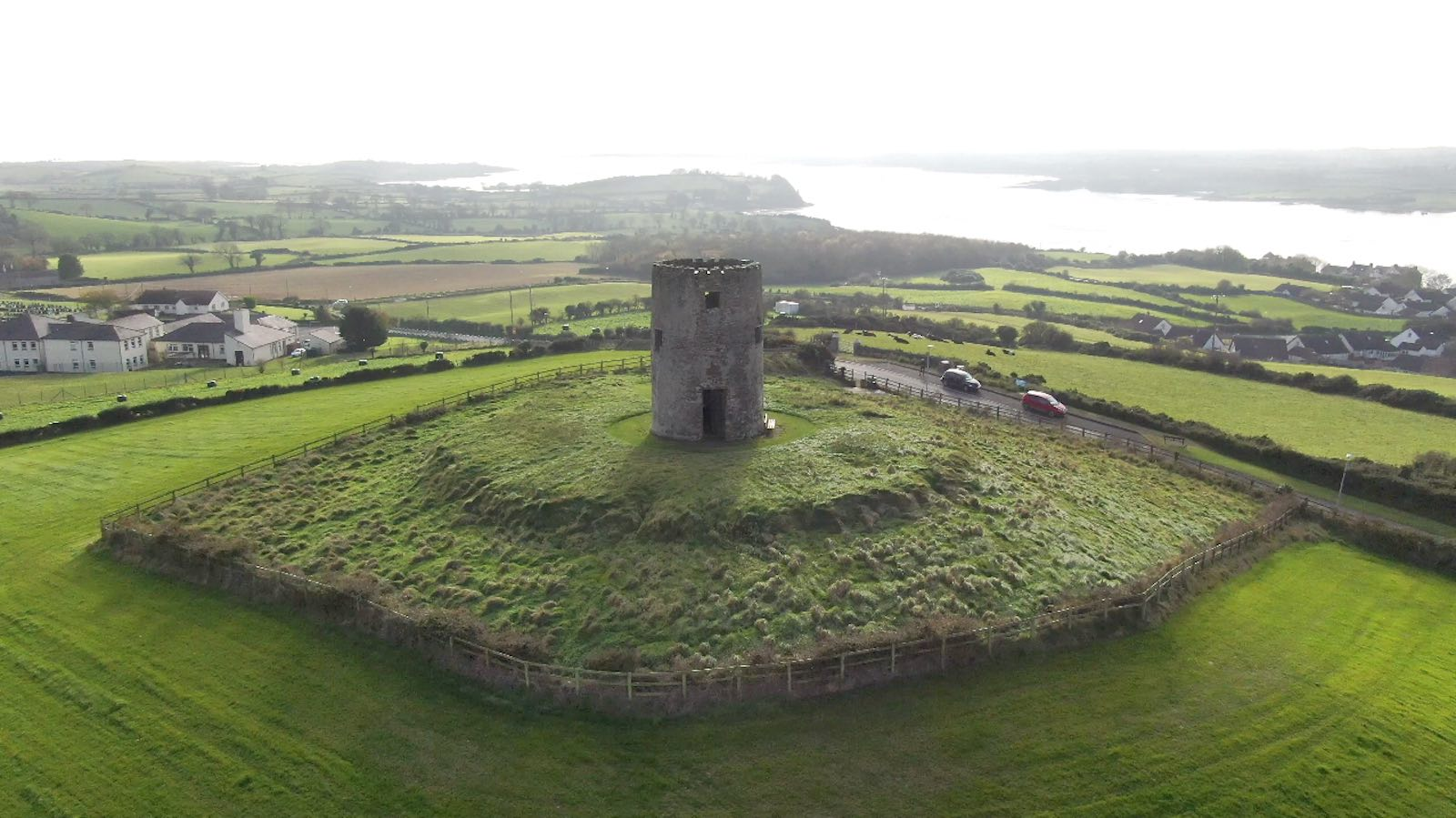 Screenshot of aerial video of Windmill Hill Portaferry by Bout Yeh drone photography and video production Northern Ireland - image 1