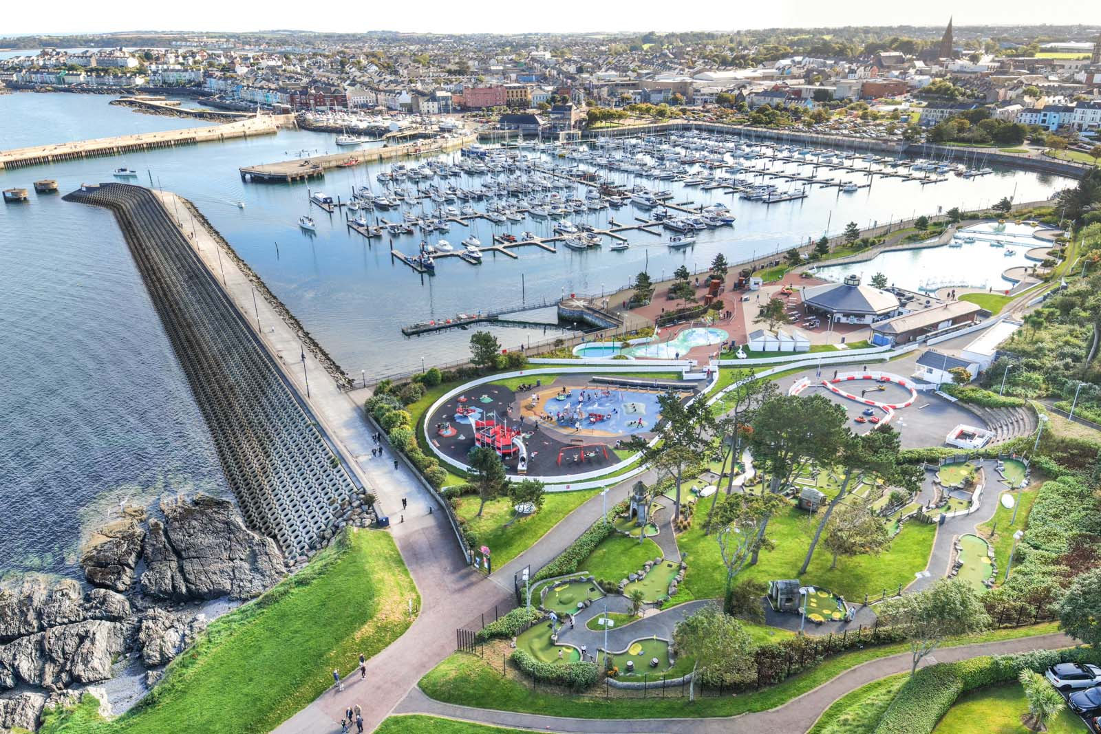 Aerial photo of Bangor Marina and Pickie Fun Park by Bout Yeh drone photography and video production services, Belfast and Northern Ireland - photo 0149