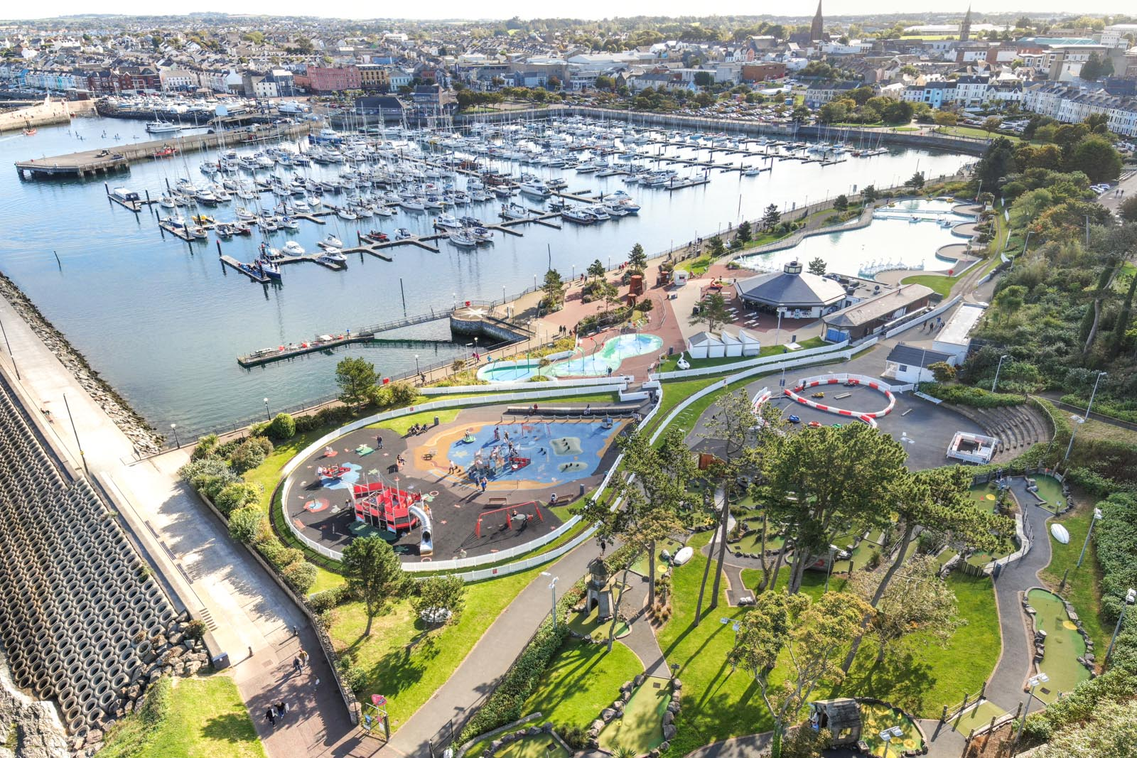 Aerial photo of Bangor Marina and Pickie Fun Park by Bout Yeh drone photography and video production services, Belfast and Northern Ireland - photo 0152
