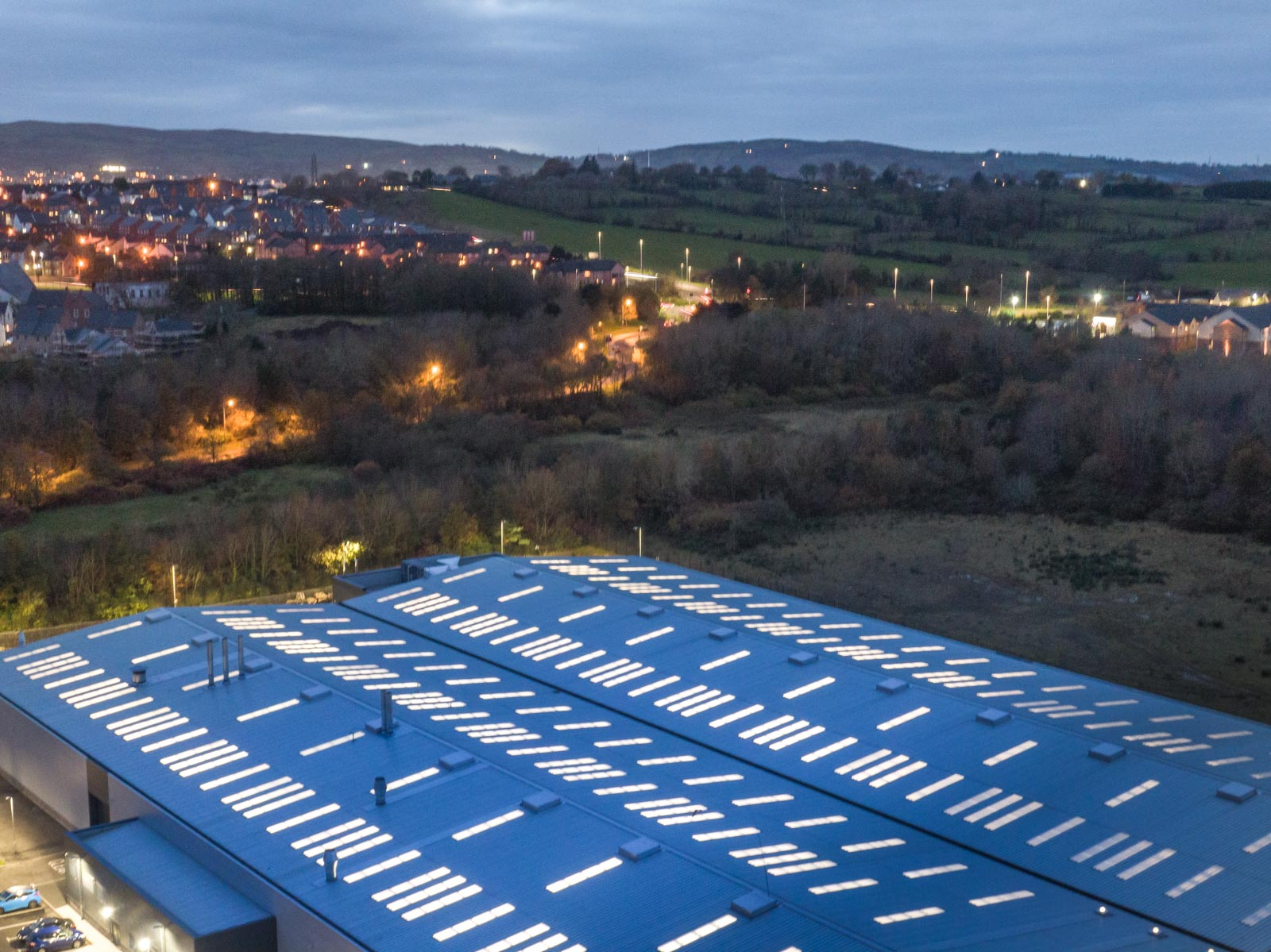 Aerial photograph of the RLC Group building in Newtownabbey by Bout Yeh drone photography and video production - image 0003