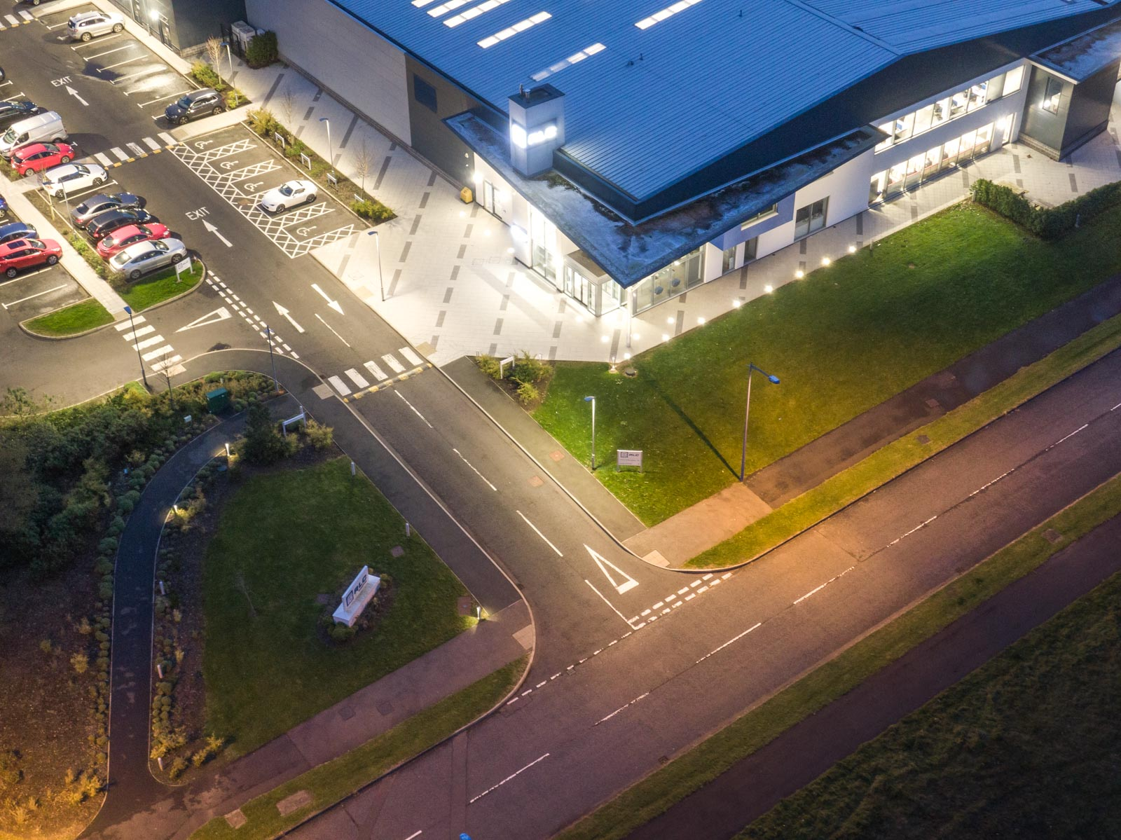 Aerial photograph of the RLC Group building in Newtownabbey by Bout Yeh drone photography and video production - image 0004