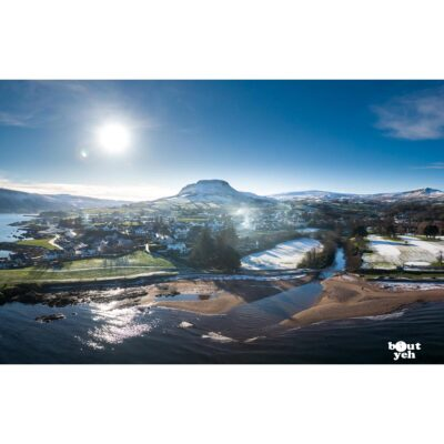 Aerial photo of Cushendall, Tievebulliagh and River Dall in winter by Bout Yeh photographers Belfast. Photo 230121.