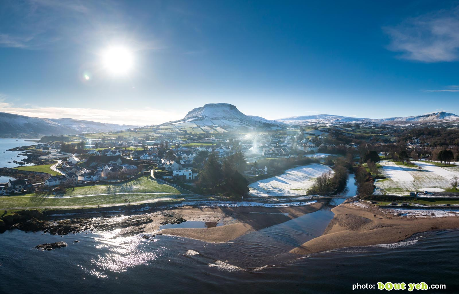 Aerial photo of Cushendall and Tievebulliagh by Bout Yeh photographers Belfast. Photo 230121