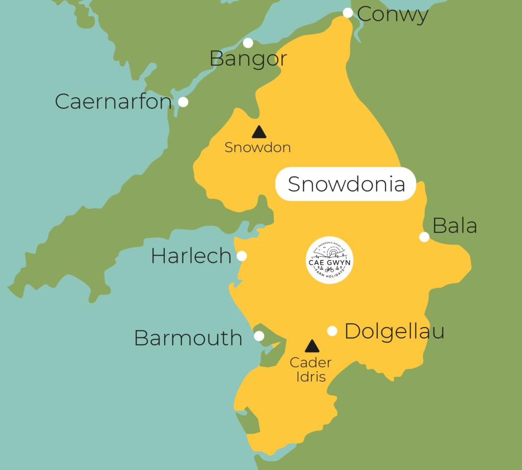 Cae Gwyn Farm Holidays - Map of Snowdonia
