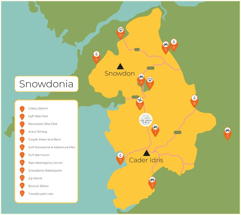 Cae Gwyn Farm Holidays - Map of Activities in Snowdonia