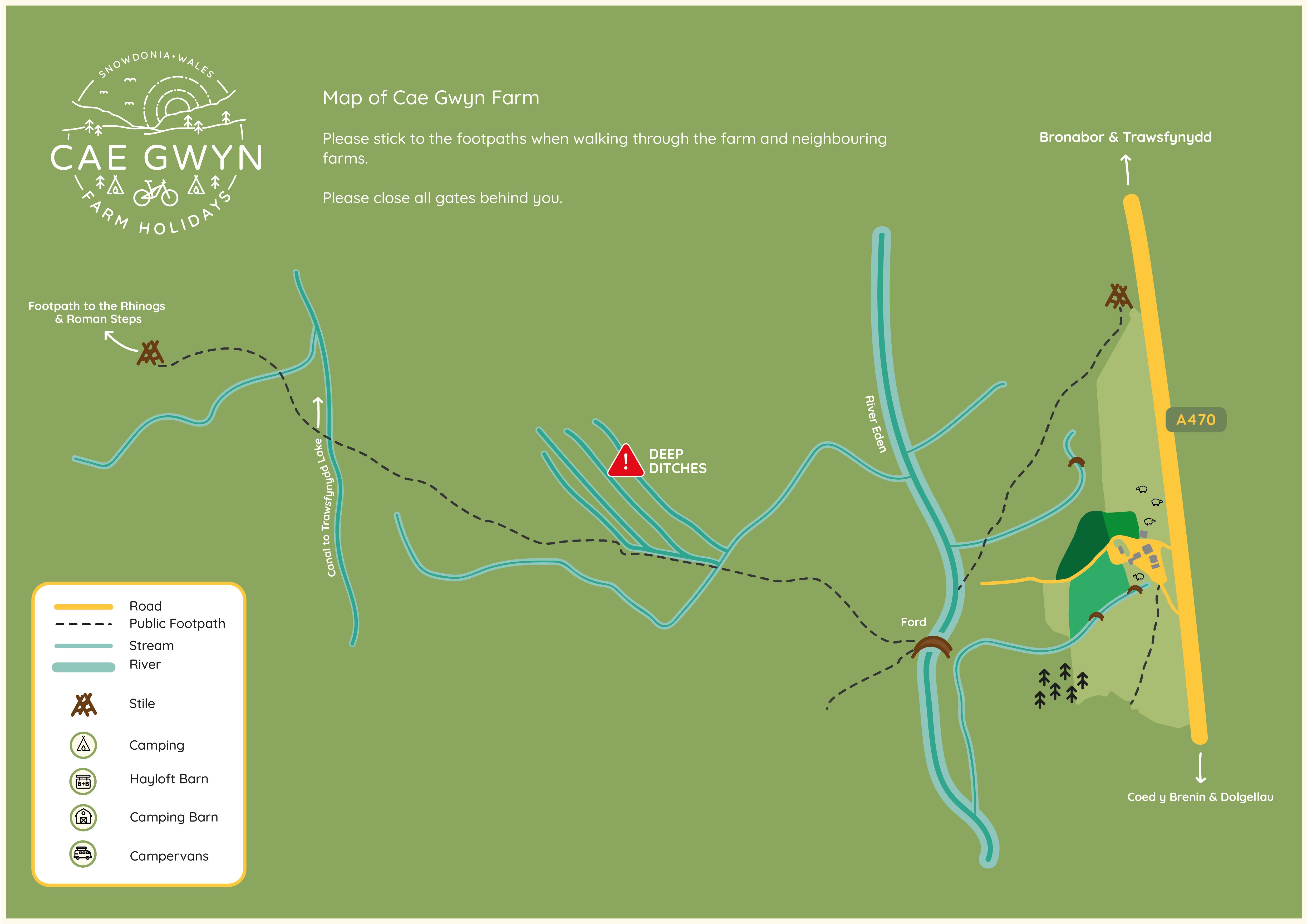 Map of surrounding area to Cae Gwyn