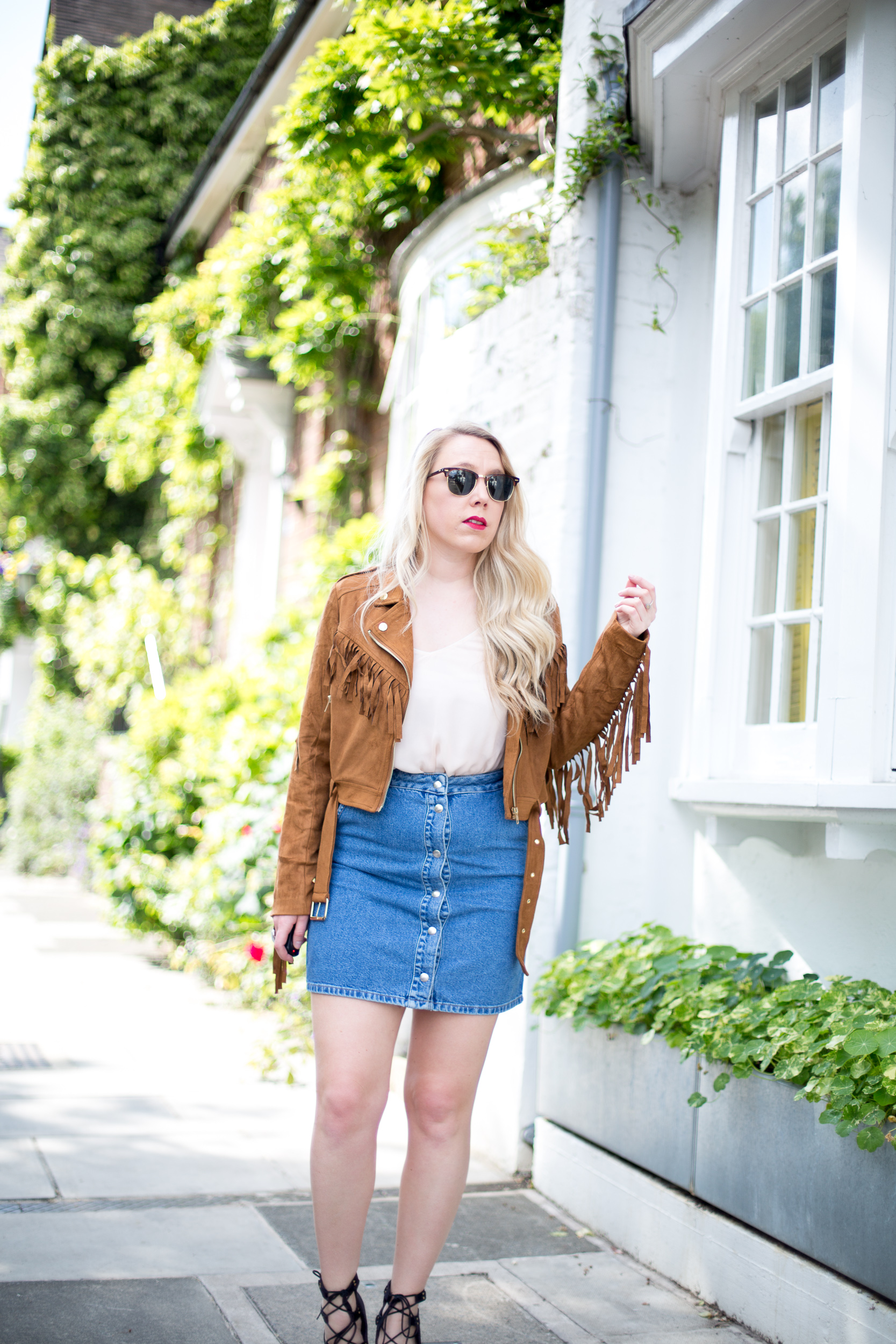 Suede Jacket and Denim Skirt