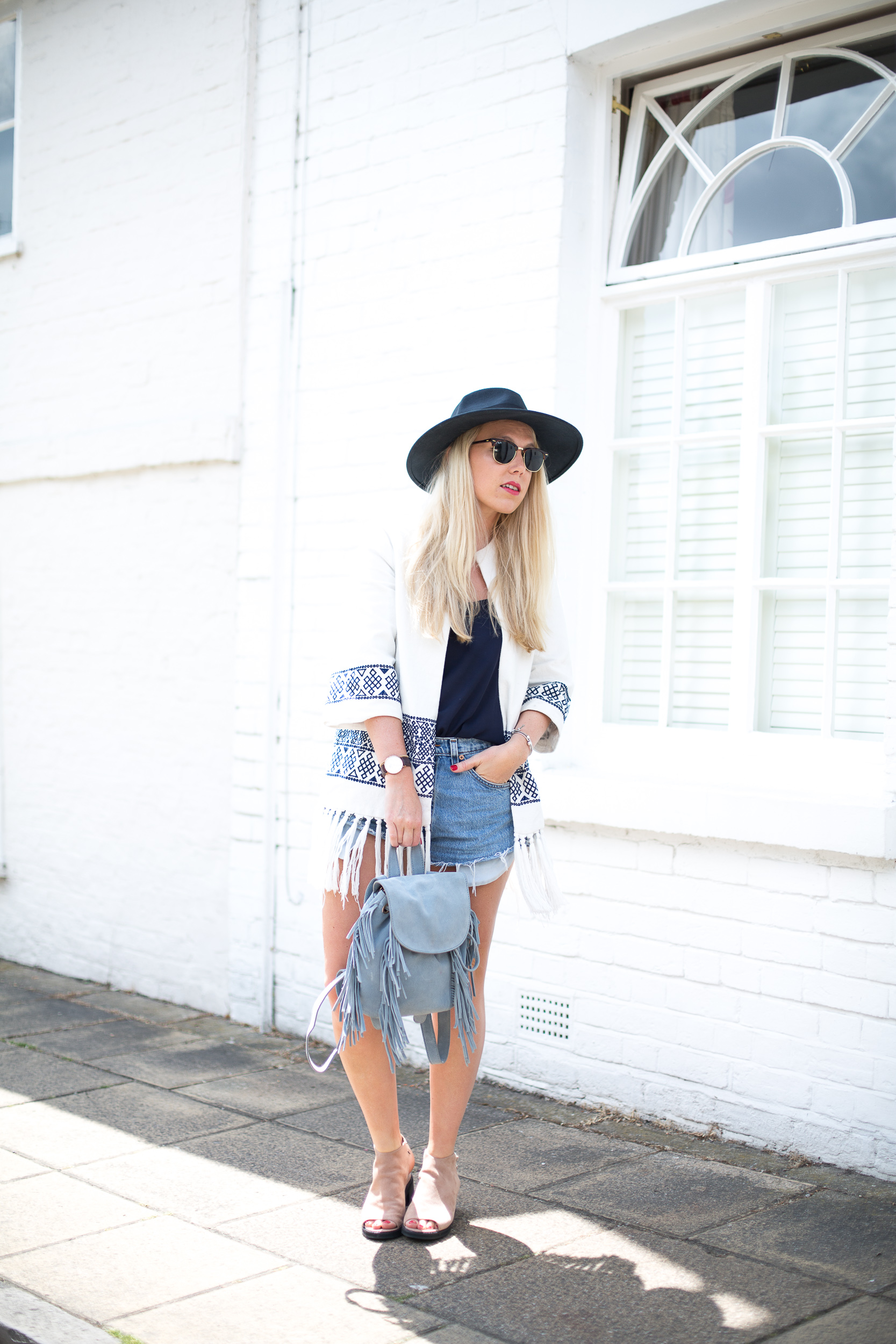Mediamarmalade Kimono and Denim Shorts