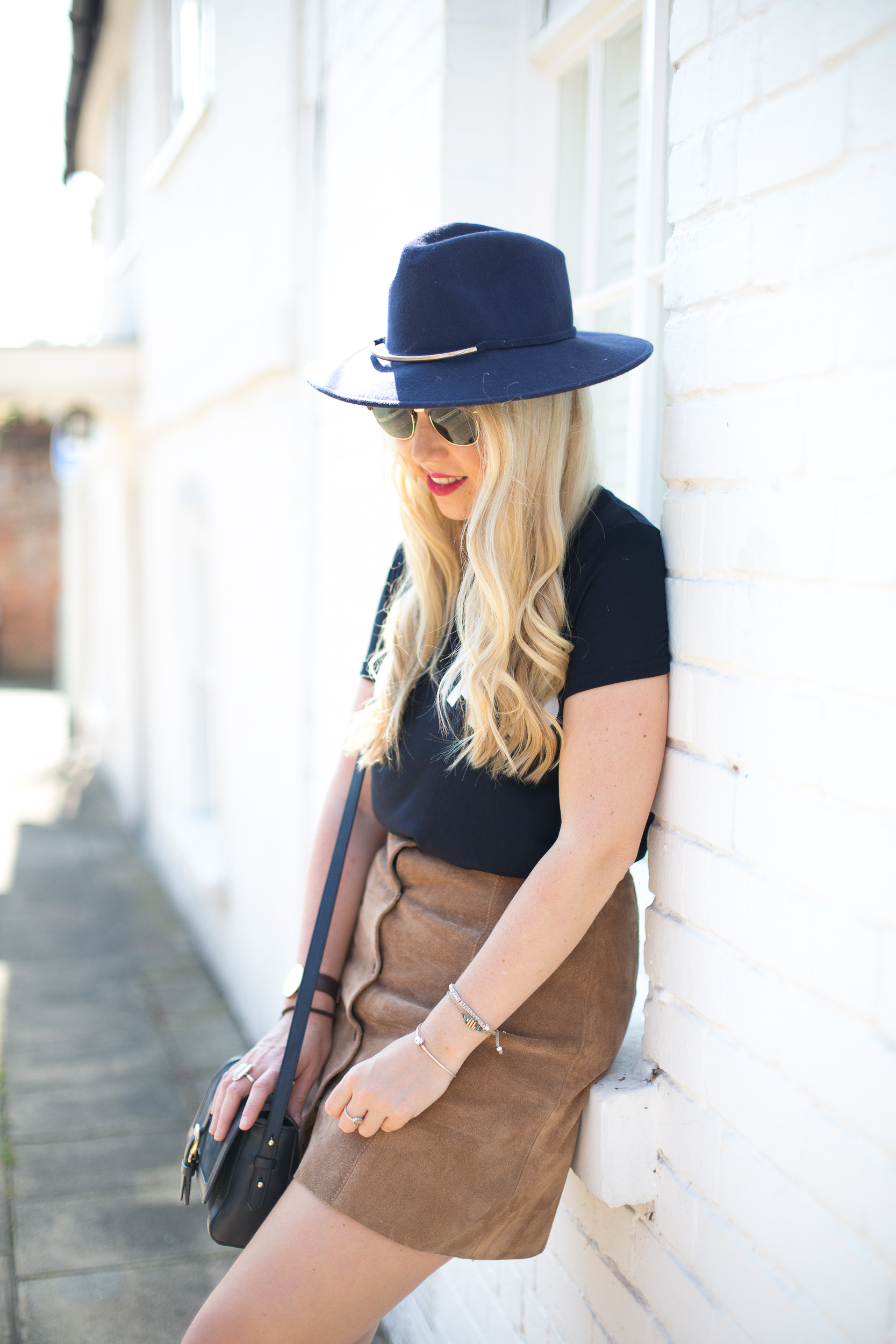 Mediamarmalade Suede Skirt And T-Shirt