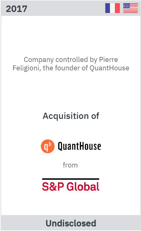Zelig Associates advises QuantHouse's founder on the acquisition of the company from S&P Global