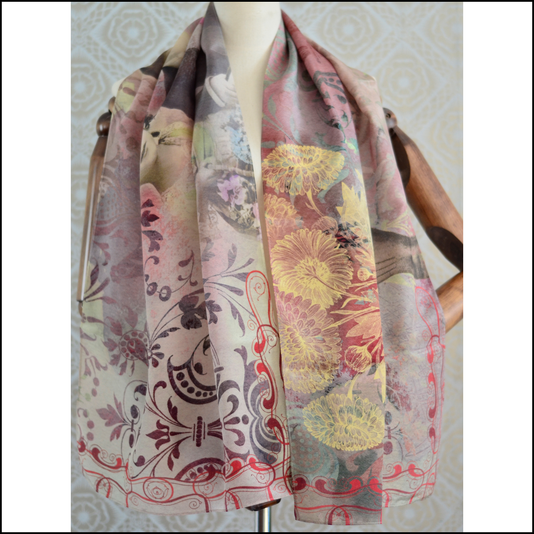 "Gabriela Szulman Silk crepe de chine scarf ""the celebration"" 1650 x 450 mm"