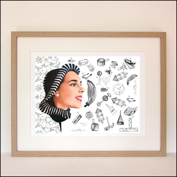 "Gabriela Szulman original giclee print collage on paper ""her to-do list"" 420 x 520 mm framed"