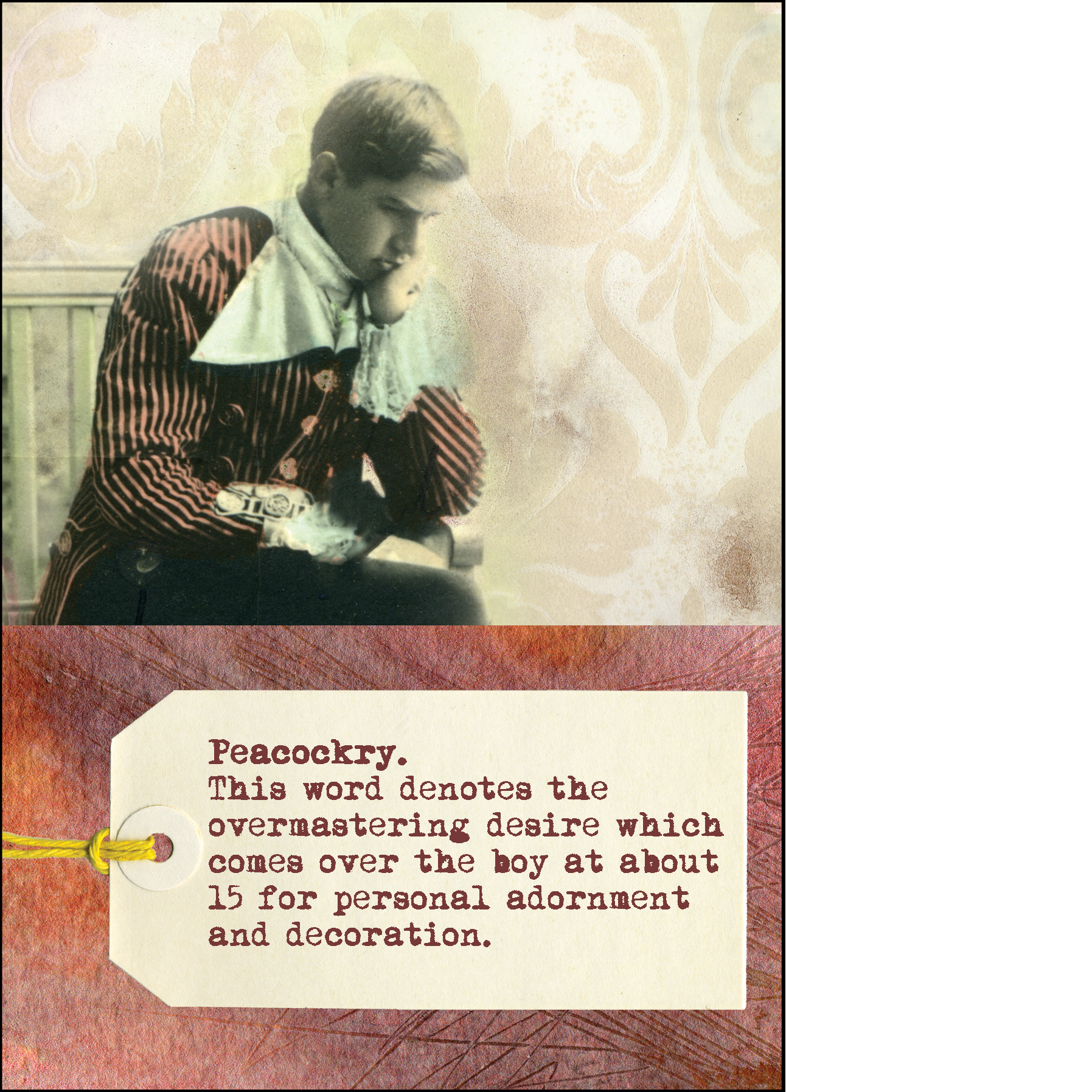 """Gabriela Szulman collage greeting card """"peacockry"""". It says: this word denotes the overmastering desire which comes over the boy at about 15 for personal adornment and decoration. Old picture of a boy thinking"""