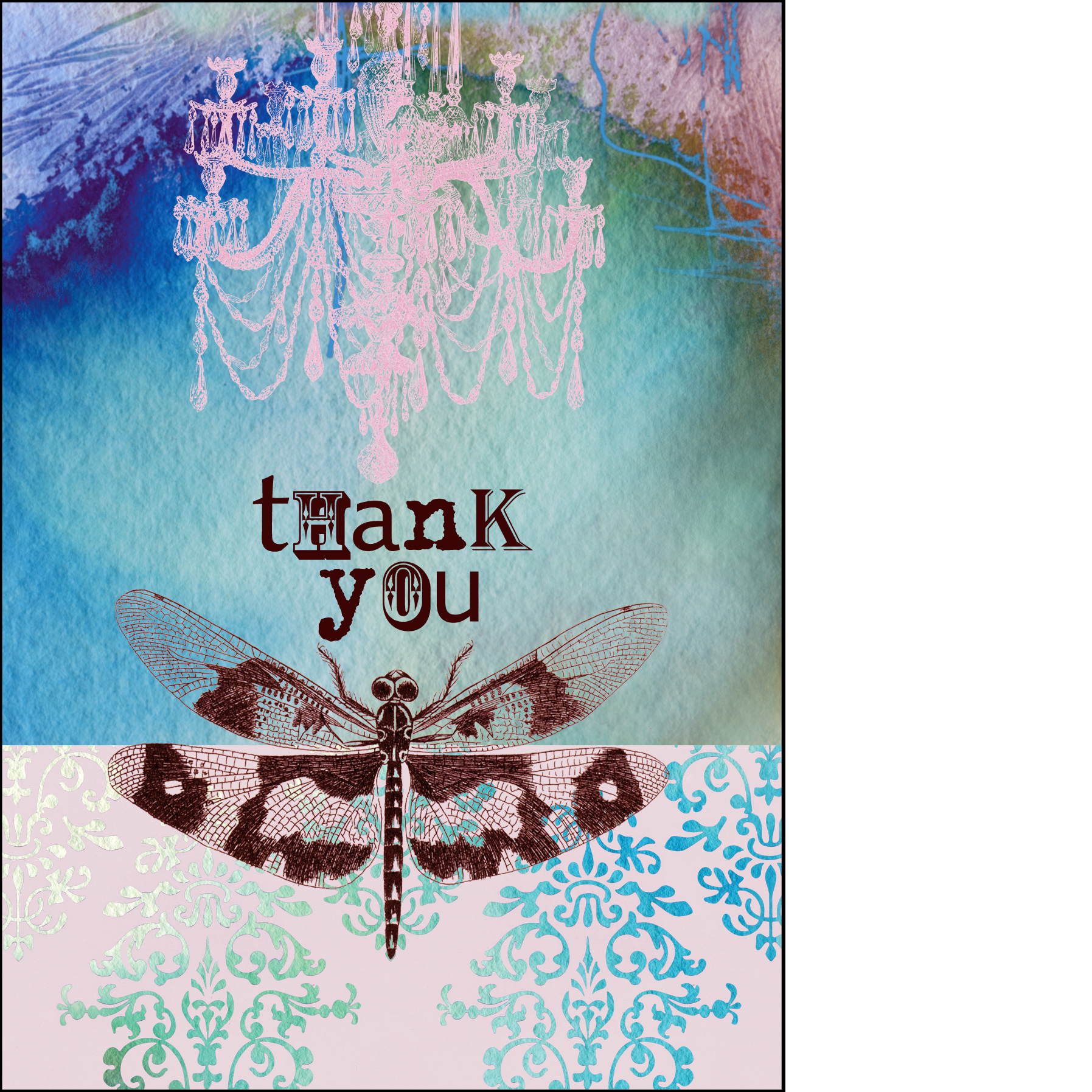 """Gabriela Szulman collage greeting card """"thank you"""" chandelier & dragonfly turquoise pink"""