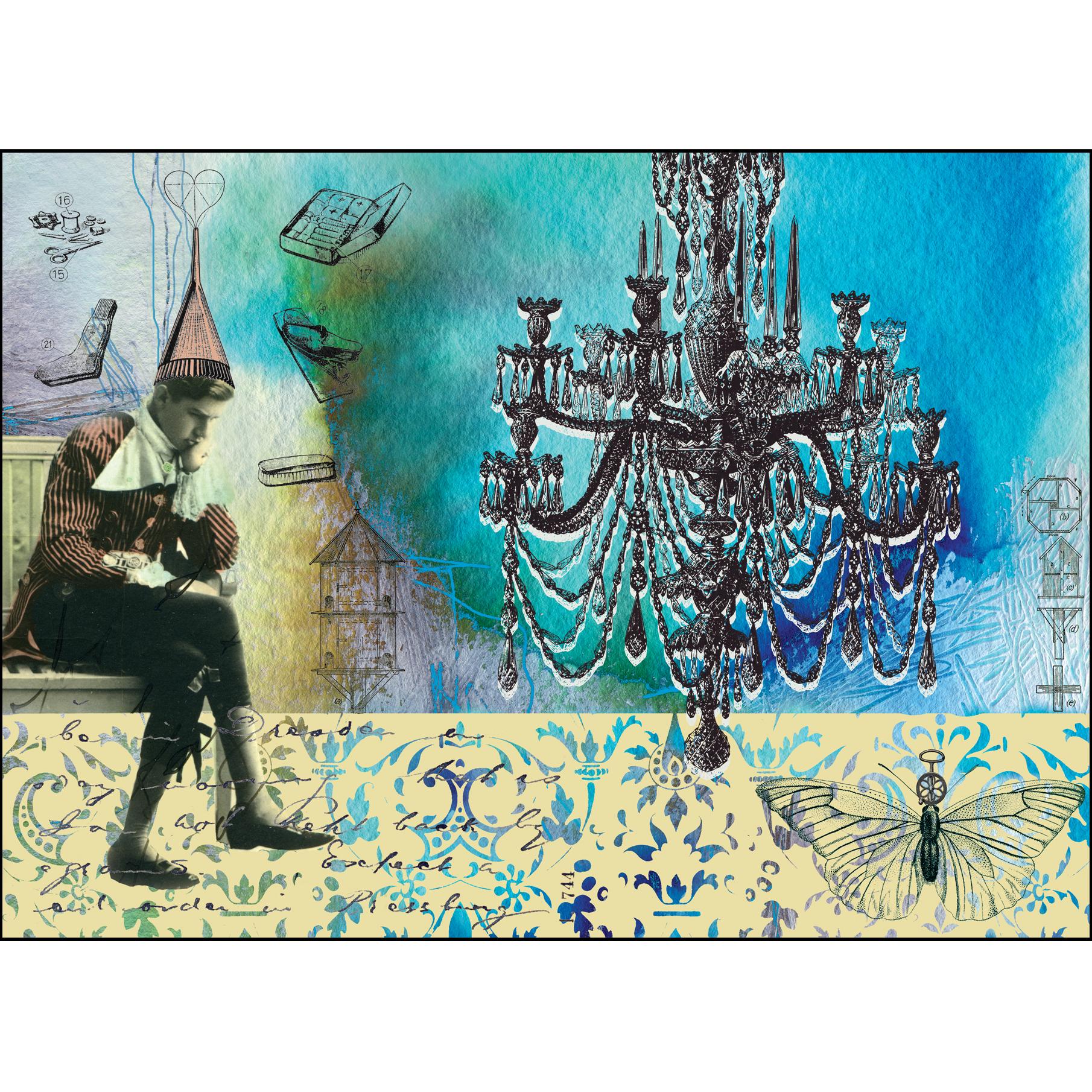 "Gabriela Szulman original giclee print collage on paper ""starter home"" 290 x 390 mm plus white border unframed"