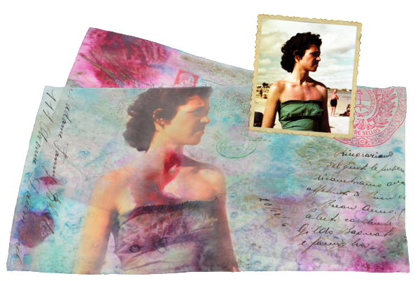 "Silk crepe de chine scarf ""Waiting for you"" with original photo of woman in swimming costume"