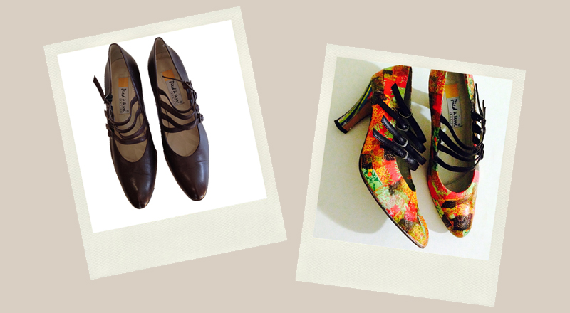 brown high heeled shoes upcycled with decoupage paper napkin bright orange green yellow pattern