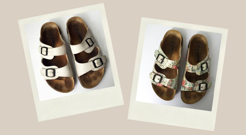 white birkenstock men's sandals upcycled with decoupage map mapamundi cartography motif