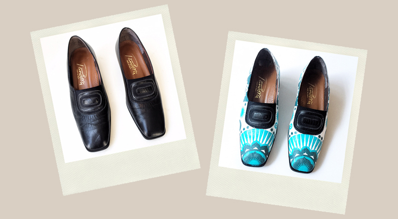 black winter shoes upcycled with decoupage turquoise geometric motif