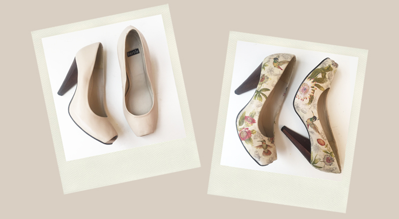 beige peeptoe sandals upcycled with decoupage paper napkinfloral motifs