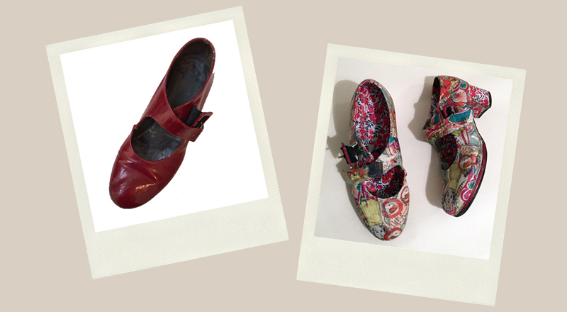 red shoes upcycled with decoupage modern colourful floral motifs