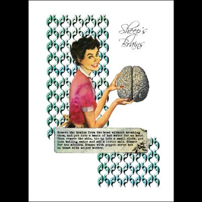 sheeps brains vintage recipe print on paper