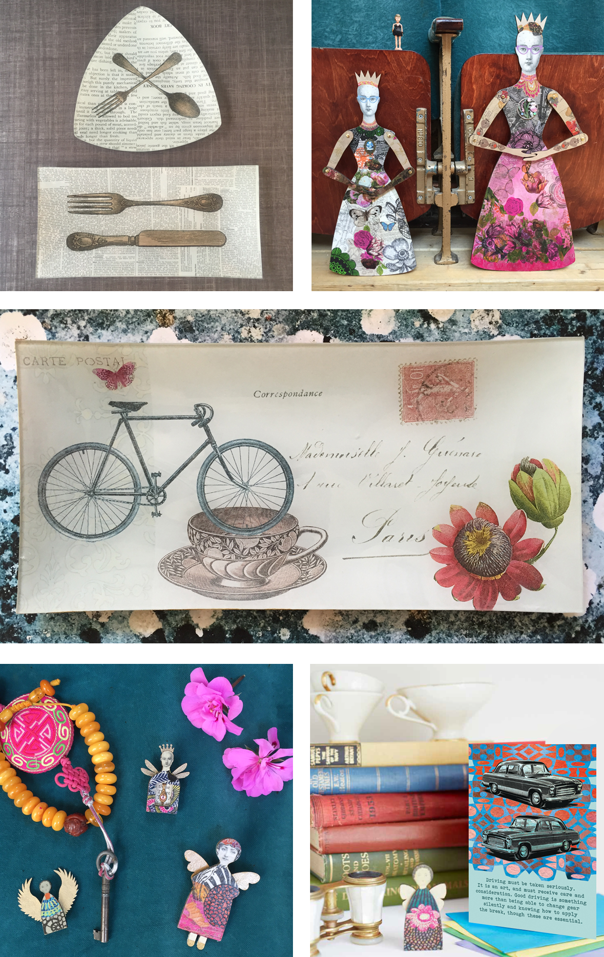 decoupaged glass, art dolls, brooches, cards