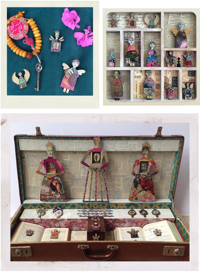 displays of jewellery and art dolls
