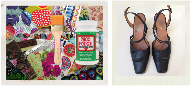 tools and materials for shoe decoupage