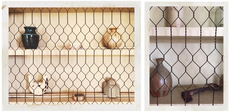 ceramic objects seen through metal grid