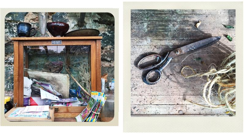 greenhouse cabinet. scissors, twine