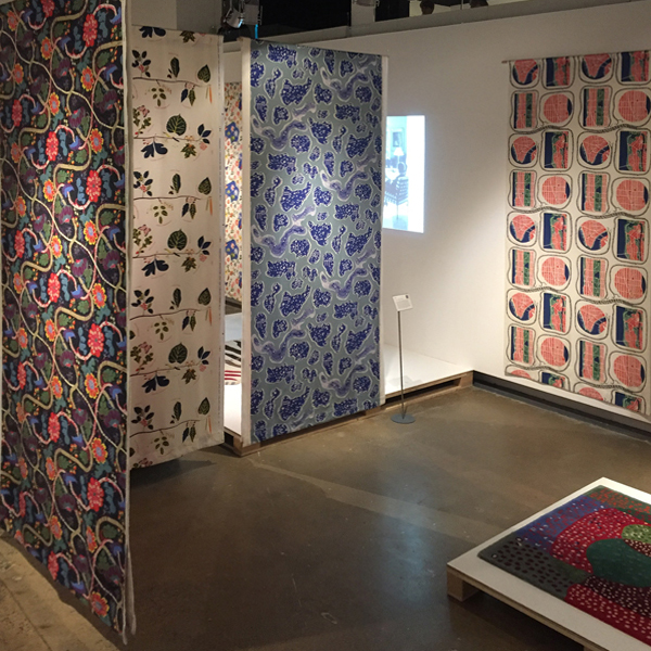 josef frank view of textile panels at fashion and textile museum exhibition