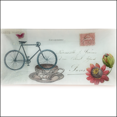 bike, cup, postage stamp and flower decoupage glass dish